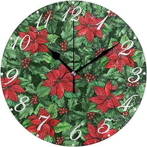 L.Fenn Winter Kerstster bloem winter Kerstmis grote diameter stille wandklok rond decoratief