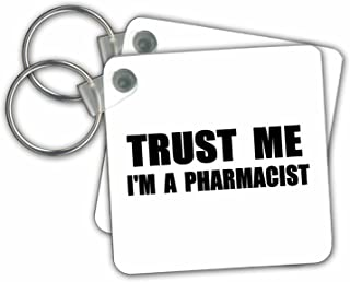 3dRose Trust Me I'm a Pharmacist Pharmacy Work Humor Funny Job Text Gift Key Chains, Set of 2 (kc_195643_1)