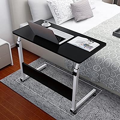 Overbed Table Laptop Cart, Portable Household Adjustable Height and Folded Folding Computer Desk with Flat Rolling Wheels for Couch Floor Kids - 80cm × 50cm Black