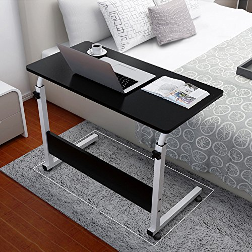 Ergonomic Stand Up Desk,Unine Adjustable Lifted and Folding C Computer Desk,Mobile Utility Table Folding Desk with Four Lockable Wheels, Heavy Duty Steel Frame,Household Desk