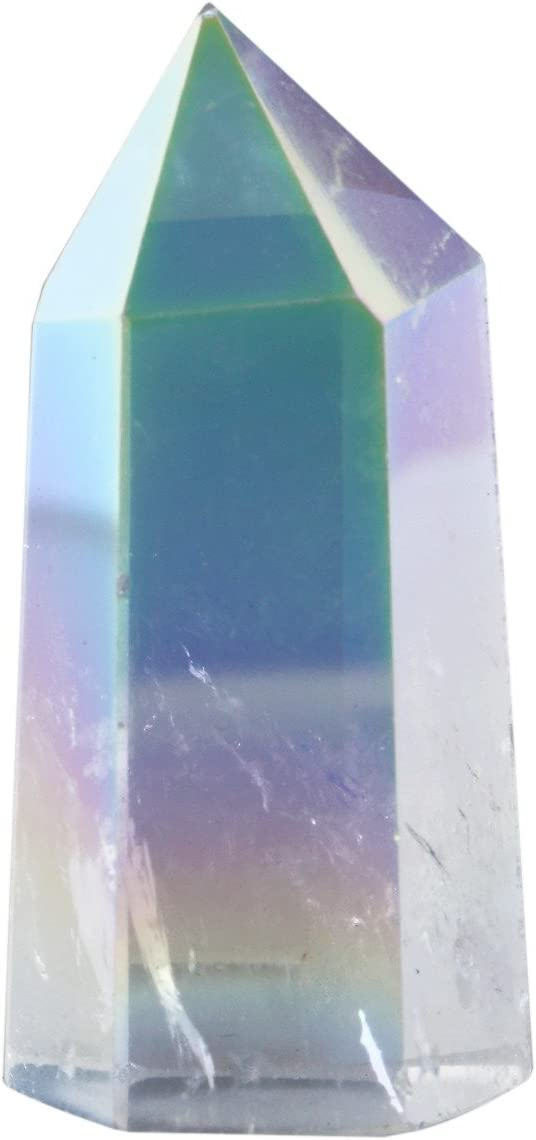 SUNYIK Angel Aura Quartz Titanium Coated Crystal Self Standing 6 Facet Single Point Figurine Sphere,1.2