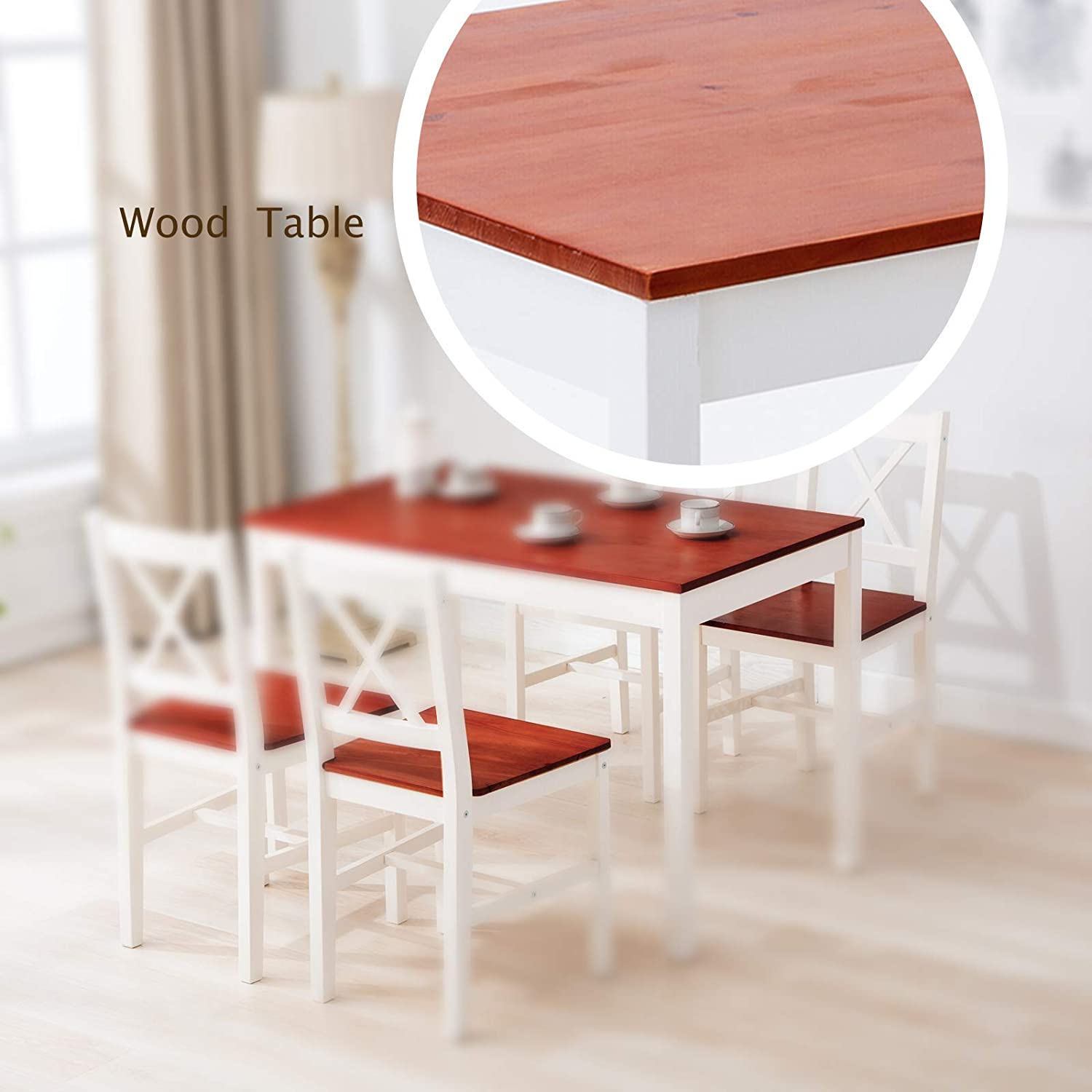 mecor 9 Piece Kitchen Dining Table Chairs Set, 9 Wood Chairs Dinette Table  Kitchen Room Furniture, Red