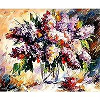 花瓶の紫色の花のデジタル絵画