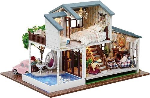 JLA Dollhouse Spielzeug, H ekorb, Holzzug, Handmade Toy Assembly Puzzle Model, Doll House Toy Girl and Boy, Best Gift
