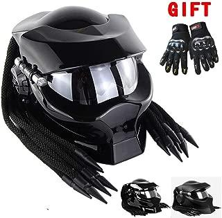 Patoukui Predator Motorcycle Helmet,Adult Alien Warrior Decorative Light Front Flap Full Face Helmet,DOT ECE Standard Certification, Gift Gloves,Brightblack,L