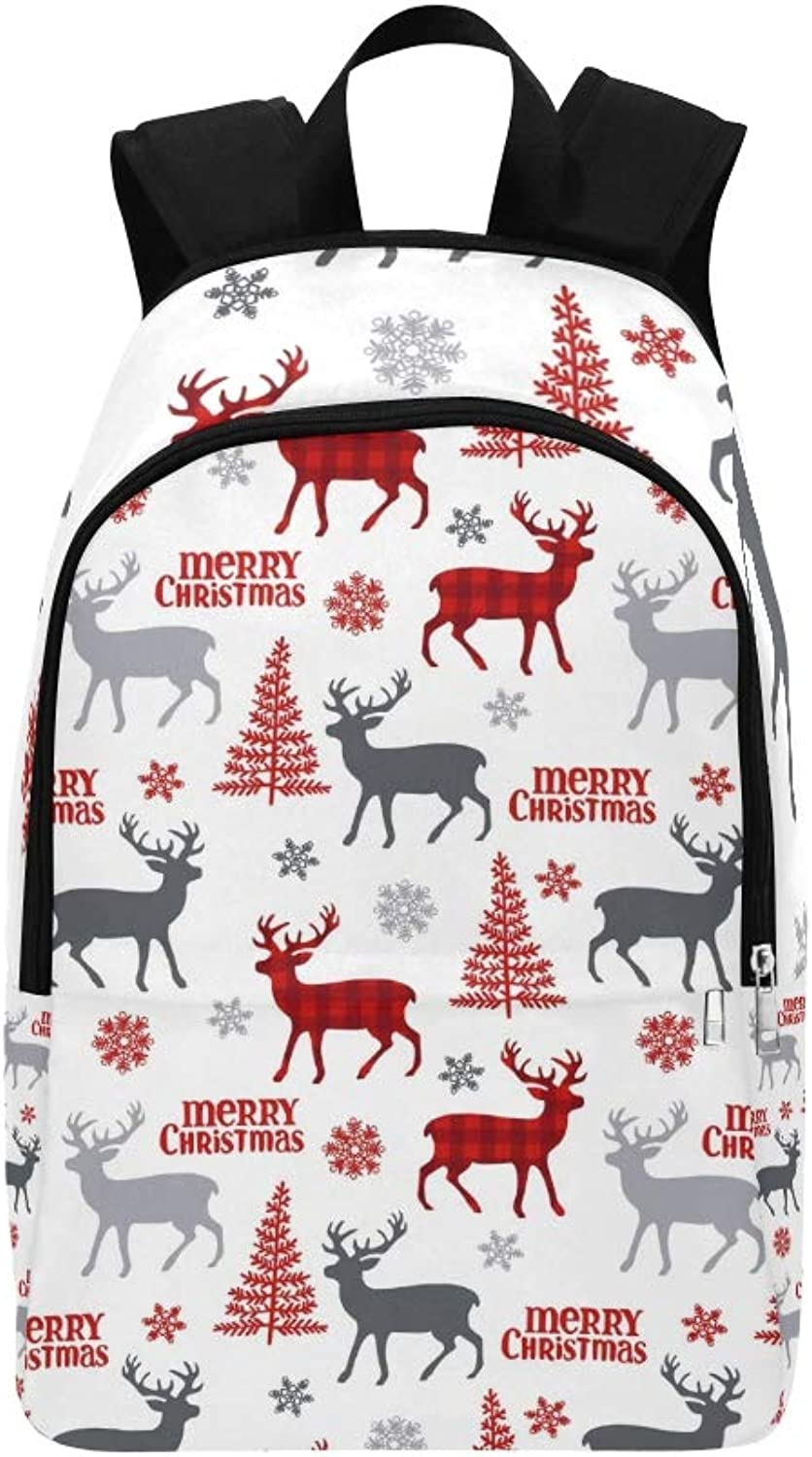 Christmas Deer Tree Snowflakes Casual Daypack Travel Bag College School Backpack for Mens and Women