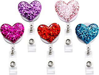 Qinsuee Bling Popular Love Heart Retractable Badge Holder, ID Nurse Badge Reel with Alligator Swivel Clip, 5 Pack
