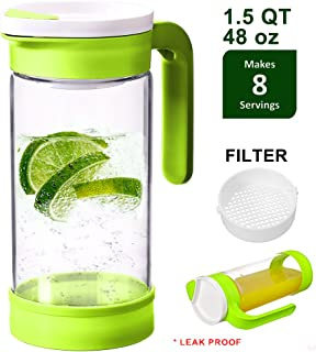 Jalousie Glass Airtight 48 oz (1.5 QT) Borosilicate Glass Water pitcher ice tea maker fruit infused water maker Locking Lids - BPA Free Airtight Dishwasher and Microwave Safe 1.4 Liter
