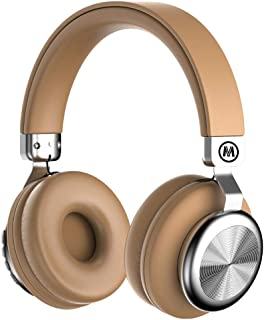 Mokata Headphone Bluetooth Wireless Over Ear On Foldable Hi-fi Stereo Headset with AUX 3.5mm Jack Cord SD Card Slot Microphone for Young Adults Cellphone TV PC Game Rechargeable Equipment B02 Brown