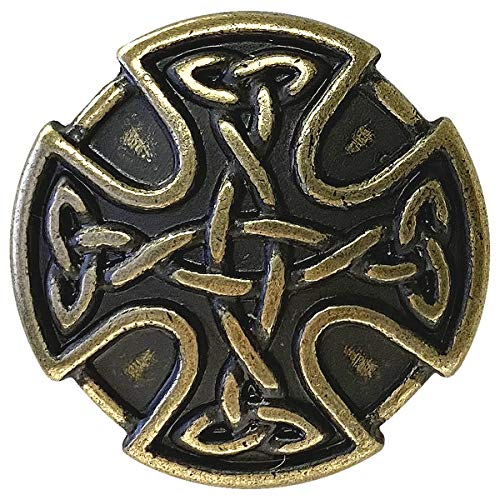 BS9977 Screw Back Celtic Cross Conchos 1' (25mm) Antique Brass Celtic Concho 10 pcs