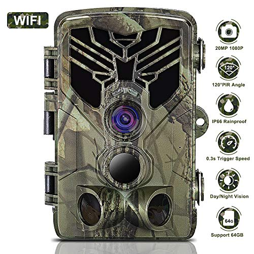 WiFi Trail Camera 20MP 1080P Night Vision Motion Activated, IP66 Waterproof Game Hunting Scouting Cam with 3 Infrared Sensors for Outdoor Wildlife, Garden and Home Security Surveillance