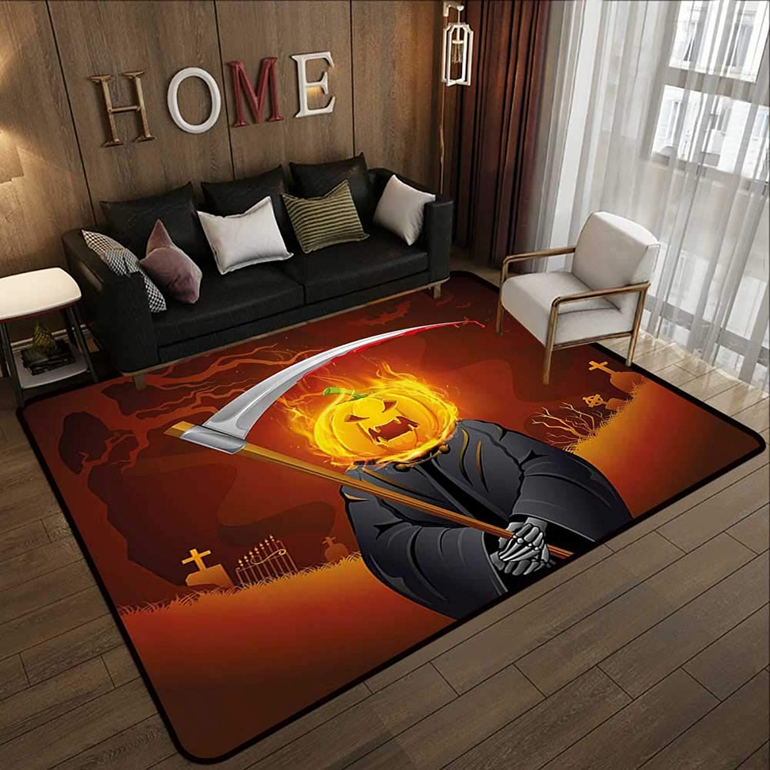 Carpet mat,Halloween Decorations,Pumpkin Grim Head Burning Flames Character Scary Creature Nightmare,orange Grey 55 x 63  Floor Mat Entrance Doormat