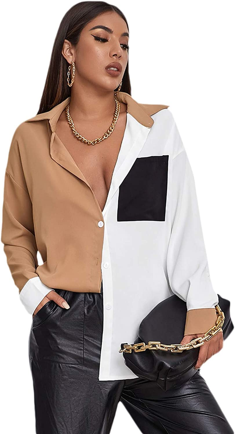 SheIn Women's Long Sleev V Neck Max 74% OFF Courier shipping free shipping Down Colorblock Button Wo Pocket