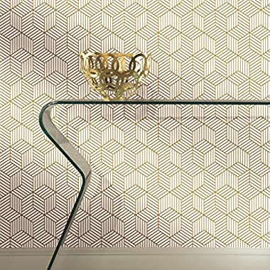 RoomMates RMK10704WP Striped Hexagon Peel and Stick Wallpaper, 20.5  x 16.5 feet, White/Gold
