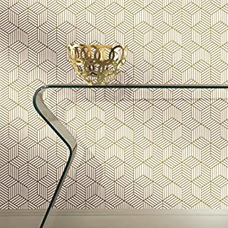"RoomMates RMK10704WP Stripped Hexagon Peel and Stick Wallpaper, White/Gold, 20.5"" x 16.5' (B076CQF2T4) 