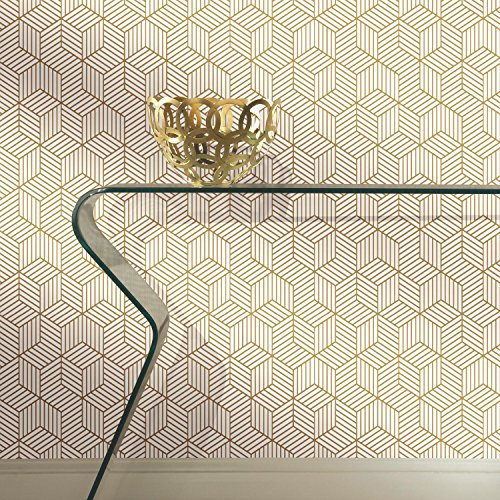 RoomMates Gold and White Stripped Hexagon Peel and Stick Wallpaper , 20.5' x 16.5 feet - RMK10704WP