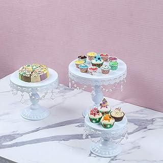 SHZICMY Lot de 3 présentoirs à gâteaux de mariage Blanc