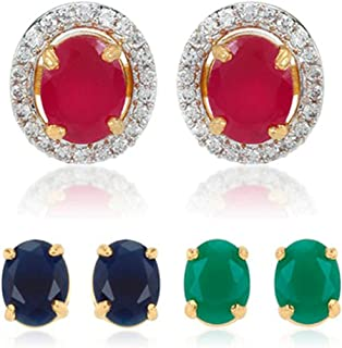 Geode Delight Gold Plated CZ American Diamond with Multi-Color Stone Round Changeable Earring Set for Women