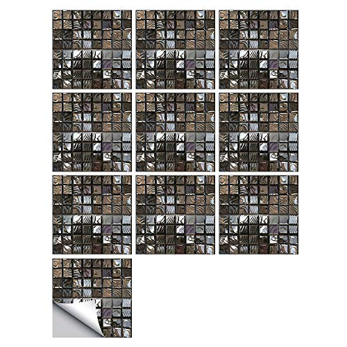 CHZIMADE 10pcs 3D Abstract Mosaic Wall Tile Sticker Self-Adhesive Square Removable Wallpaper Sticky Plastic Roll Vinyl Film for Kitchen Bathroom 30cmx30cm