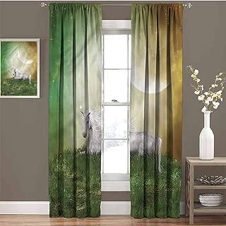 GUUVOR Fantasy Room Darkened Curtain Misty Night Meadow Unicorn Insulated Room Bedroom Darkened Curtains W72 x L108 Inch