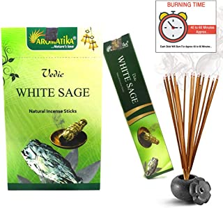 Aromatika vedic White Sage natural masala incense sticks Pack of 180 gm (15 gm x 12 box) | hand rolled in India | recommending for positive energy at your place | yoga, meditation, aromatherapy, reiki