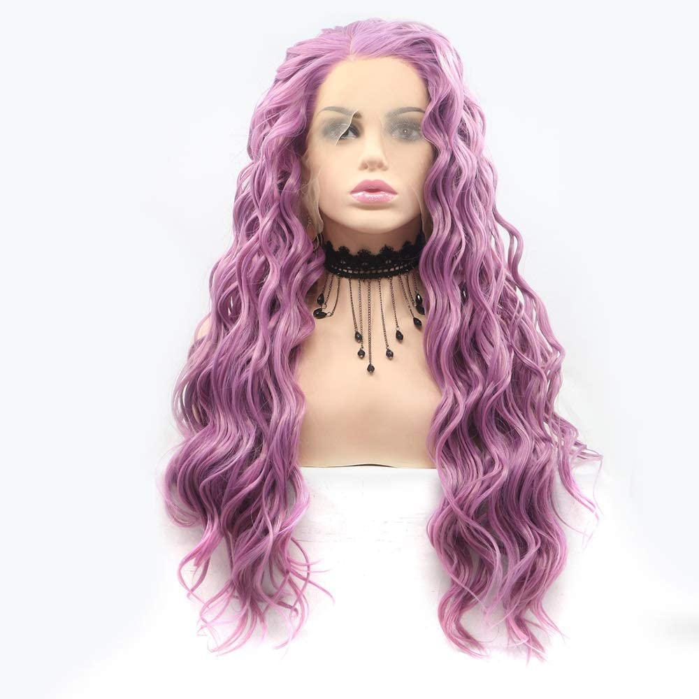 Wigs Spring new work one after another Purple Long Curly Hair Wig Lace Handmade Ladies European Max 88% OFF an
