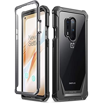 Poetic Guardian Series Case Designed for OnePlus 8 Pro Case, Full-Body Hybrid Shockproof Bumper Cover with Built-in-Screen Protector, Black/Clear