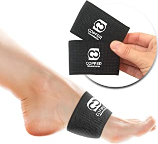 Copper Compression Padded Arch Support - 2 Padded Plantar Fasciitis Sleeves. Guaranteed Highest Copper Arch Supports with Pad. Planter Fasciitis Support Braces for Foot Care, Feet Pain, Flat Arches