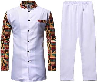 Men 2-Piece Button T-Shirt Printed Stand Collar Casual African Set