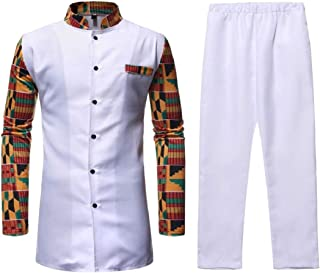 Men 2-Piece Button T-Shirt Printed Stand Collar Casual African Set