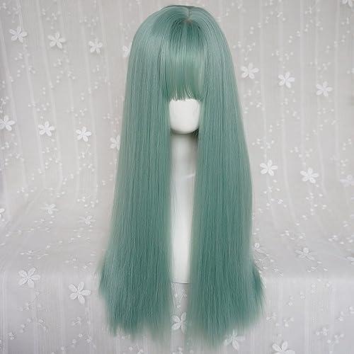 hasta un 70% de descuento Peluca de pelo pelo pelo largo y recto verde resistente al calor de la mujer, peluca de mascarada del partido cosplay, boca plana, peluca de fiesta de uso diario HUACANG  ventas al por mayor