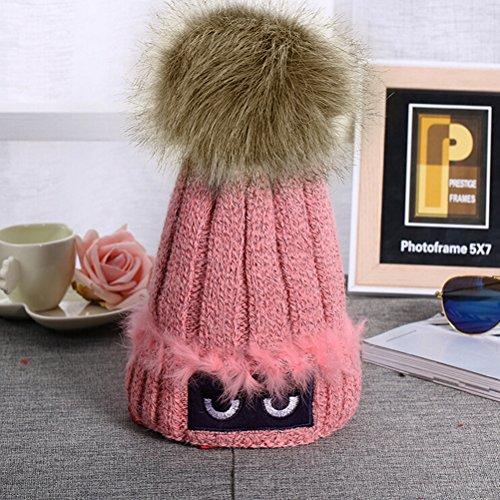 PIXNOR Las mujeres Crochet gorro de lana gorro de punto gorro de invierno Gorra de terciopelo Pom Pom