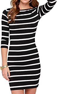 Women's Sexy Casual Long Sleeve Short Dress Mini Dress Stripe Dresses