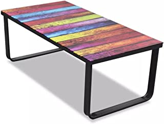 Lingjiushopping Table for Caff Glass with Print Rainbow Colour  Black  Frame  Print Rainbow  Glass  Material  Tempered Glass Iron