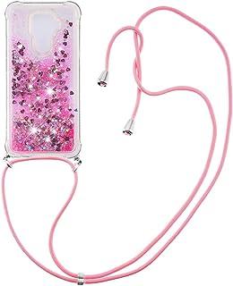 Flytande kvicksand silikon TPU stötfångare skal (med snodd ) för Huawei Mate 30 Lite/nova 5i Pro (rosa kärlek)