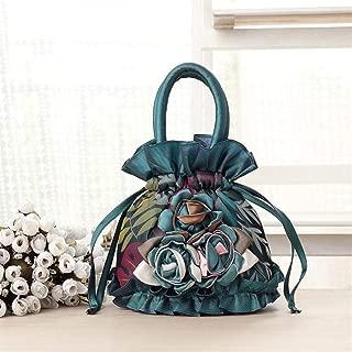 Redland Art Women's Fashion Flower Mini Clutch Bucket Bag Wristlet Evening Handbag Catching Purse Bag for Wedding Party (Color : Green)