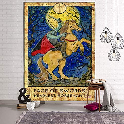 XIAOG TapizparaColgar,Tarot Hippie Tapiz Astrología Espadas Jinete Sin Cabeza Tapiz De Arte Indio Tirar Colcha para Dormitorio Adolescente Sala De Estar Decoración, 75X90Cm (29.5X35.5In)