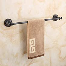 DJJSGSB Towel Rack Shelf Towel Rack Bathroom Wall-Mounted Black Retro Copper Carved 61cm Towel Bar Bath