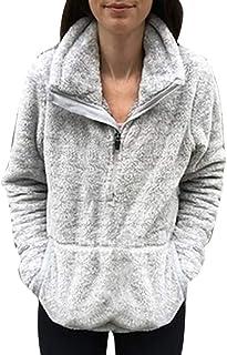 2765a8255aab49 BETTERUU Womens Plush Autumn Winter Tops Oversize Fluffy Fleece Sweatshirt  Outwear
