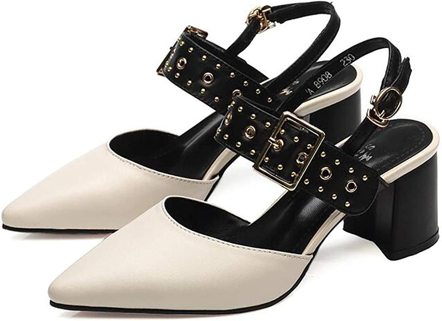 Women's shoes, Summer, Middle-Heeled shoes, Thick and Comfortable shoes, one-Button shoes (color   B, Size   39)