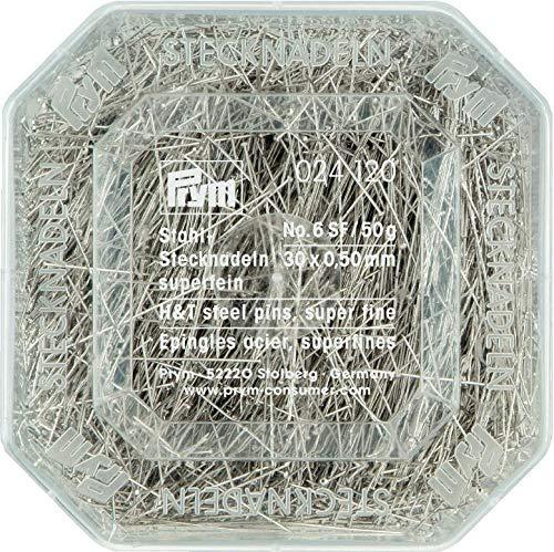Prym 024120 Stecknadeln, 0,50 x 30mm, silberfarbig, 50g, Kunststoffdose, Stahl, 30 x 0,5mm