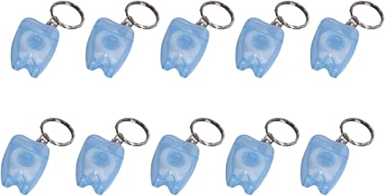 Annhua 10 PCS (15M/Piece) Portable Mint Dental Floss with Key Chain for Teeth Cleaning Oral Hygiene (Blue)