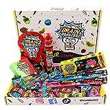 Brain Blasterz Super Sour Sweet Treat Box – Dulces duros, Rompecerebros, Spray de caramelo, Dipper en polvo agrio y más | Fresa, sandía, bayas y más