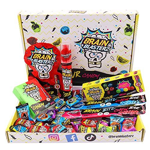 Brain Blasterz - Box di caramelle aspre, contiene Brain Breakerz, Candy Spray, Brain Bitz, Chew Bar e altro ancora.