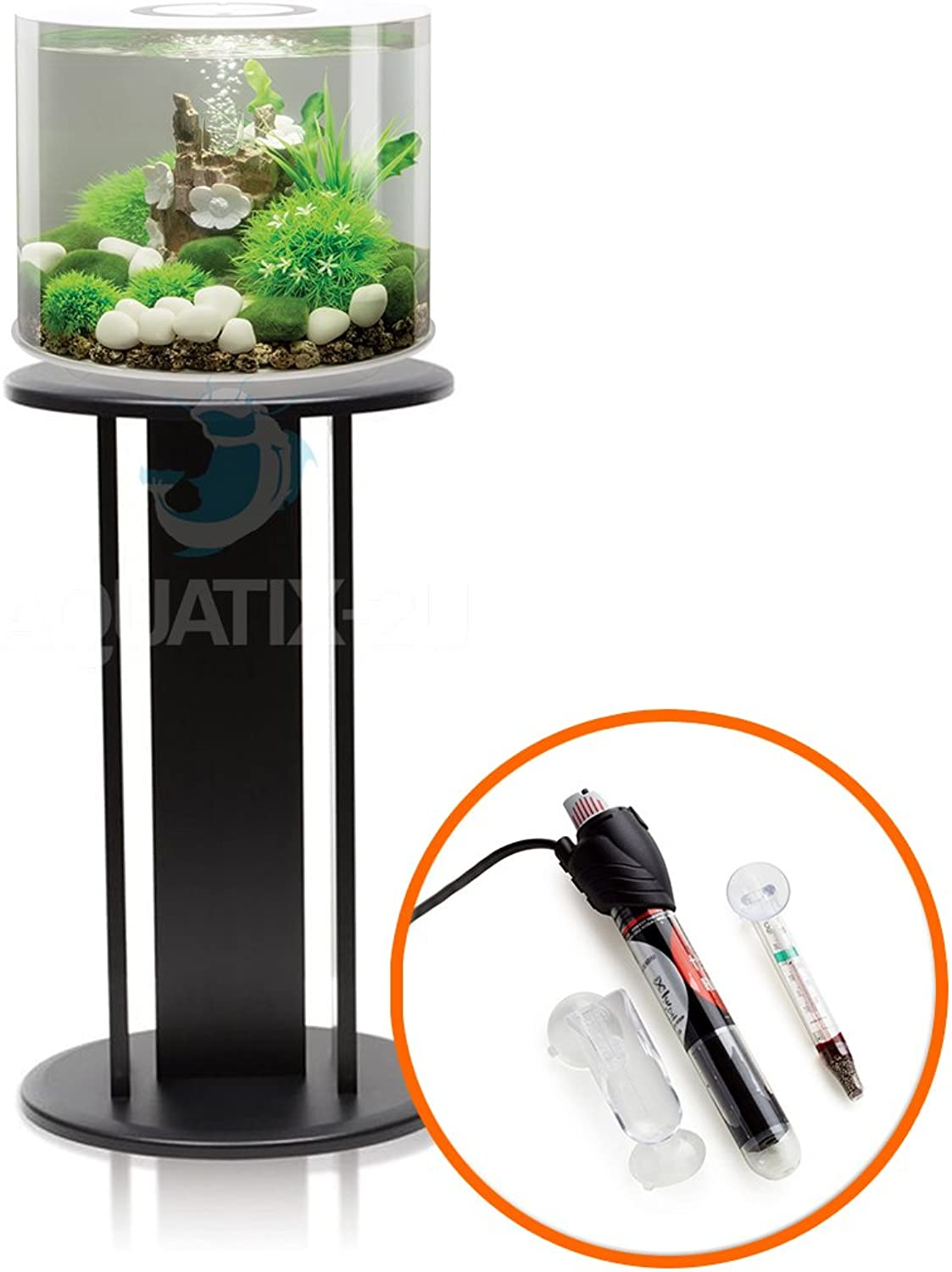 BiOrb TUBE 15L in White with LED Lighting, Heater Pack and Black Stand