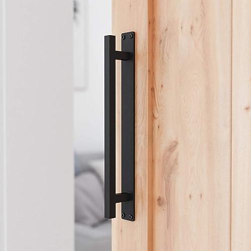 """popular SMARTSTANDARD 12"""" Rustic high quality Barn Door Handle for Sliding Door, Heavy Duty Barn Door Pull, Antique high quality Long Base Gate Handle sale"""