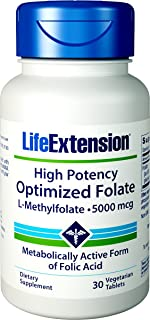Life Extension High Potency Optimized Folate 30 Vegetarian Tablets
