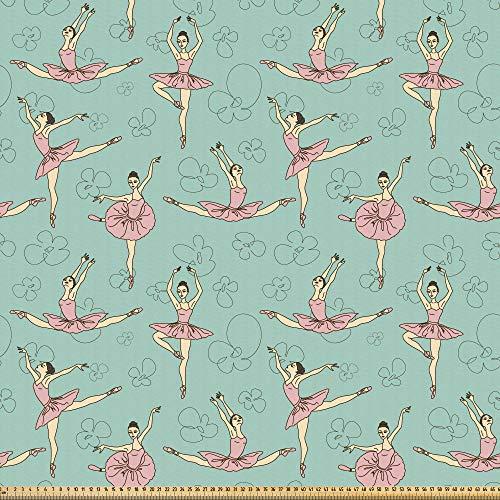 ABAKUHAUS Ballett Stoff als Meterware, Ballerinas in verschiedenen Posen, Microfaser Stoff für Dekoratives Basteln, 1M (230x100cm), Seafoam Pale Pink Cream