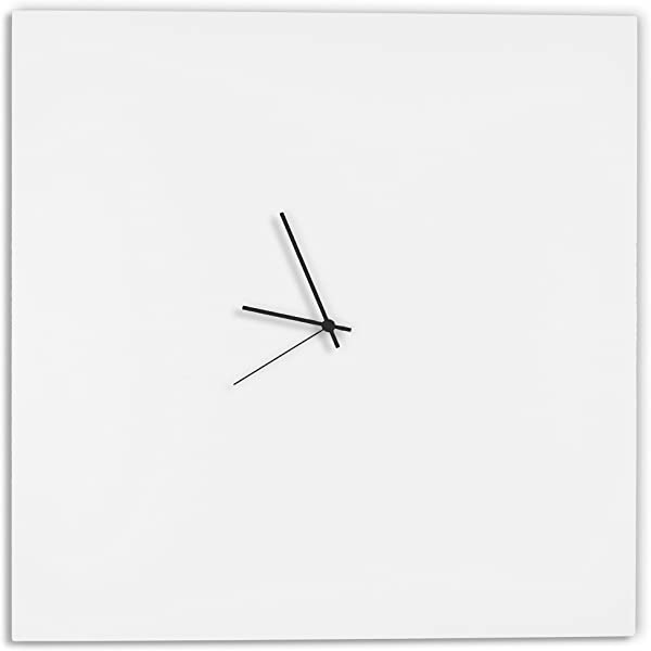 Modern White Clock Whiteout Black Square Clock Large Minimalist Metal Wall Clocks Contemporary Decor 23in White W Black Hands