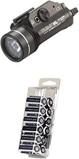 Streamlight 69260 TLR-1 HL Weapon Mount Tactical Flashlight Light 800 Lumens with Strobe + Streamlight 85177 CR123A Lithium Batteries, 12-Pack